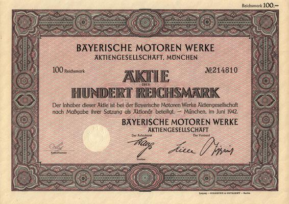 Aandeel (Aktie) 100 RM Bayerische Motoren Werke A.G. München uit 1942.