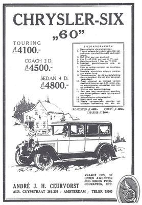 Een Nederlandse advertentie voor Chrysler uit 1927.