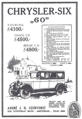 Nederlandse advertentie Chrysler uit 1927.