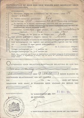 Een belastingkaart uit 1941 voor een motorrijtuig (2).