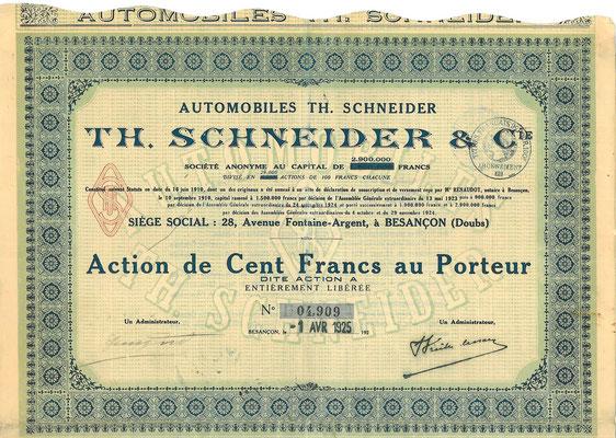 Een aandeel Automobiles Th. Schneider S.A. uit 1925.