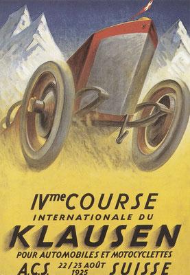 Affiche van K. Bickel voor de Zwitserse Klausen-bergrace in 1925.