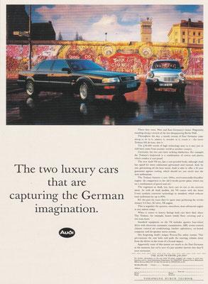 Audi UK verwijst met deze advertentie naar de Saksische wortels van het merk Auto Union en naar de Duitse hereniging.