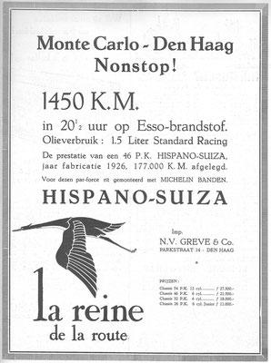 Advertentie voor Hispano-Suiza in het weekblad De Auto jaargang 1932.