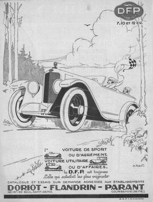 Een advertentie van DFP uit 1924, het ontwerp is van A. Kow.