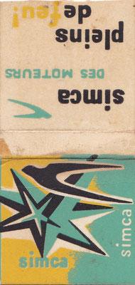 Afbreeklucifers met reclame voor Simca.