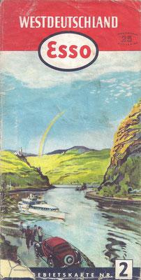 Esso Gebietskarte, Nr.2 Westdeutschland, 1952.
