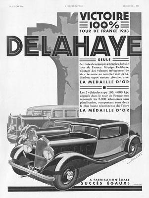 Advertentie Delahaye in l'Illustration uit 1933, getekend door Alexis Kow.