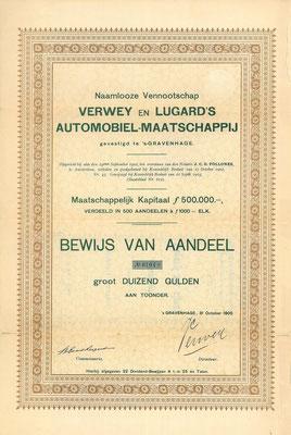 Een aandeel N.V. Verwey en Lugard's Automobiel-Maatschappij uit 1905 met de handtekening van Verwey en Lugard.