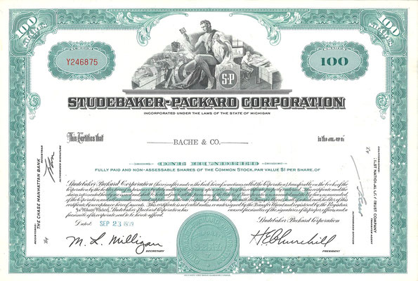 Certificaat voor 100 aandelen Studebaker-Packard Corporation uit 1959. Dit stuk (met een ander nummer, jaartal en tenaamstelling) is te koop, prijs € 8,00 email: automobielhistorie@gmail.com