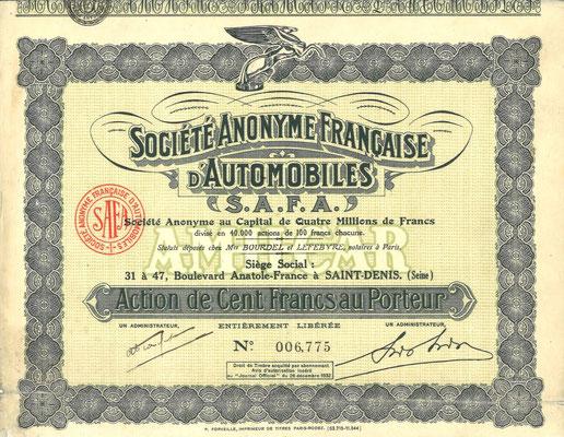 Een aandeel S.A. Francaise d'Automobiles (Amilcar) van na 1932.
