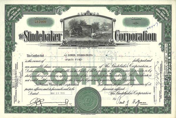 Certificaat voor 45 aandelen The Studebaker Corporation uit 1935. Dit stuk (uit 1953, met een ander nummer en tenaamstelling) is te koop, prijs € 8,00 email: automobielhistorie@gmail.com