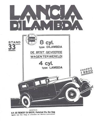 Een Nederlandse advertentie voor Lancia uit 1930.