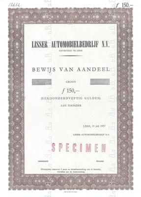 Een aandeel Lisser Automobielbedrijf N.V. uit 1957 (specimen).