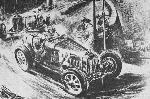 De eerste Grand Prix van Monaco werd in 1929 verreden. Hier neemt Engelsman en winnaar Williams met zijn Bugatti  een scherpe bocht, gevolgd door Rudolph Caracciola met een Mercedes.