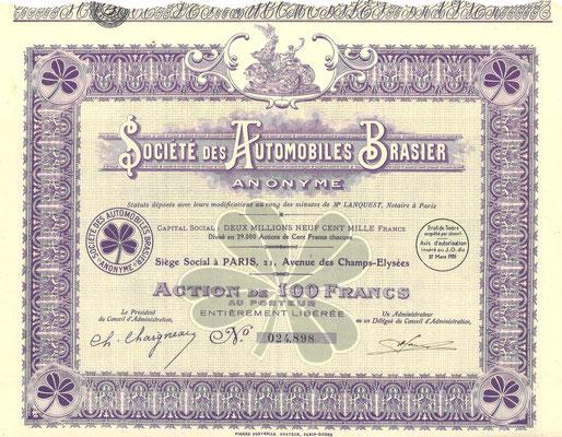 Aandeel Société des Automobiles Brasier Anonyme uit ~1926.