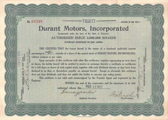 1/2 Aandeel Durant Motors, Incorporated. uit 1925.
