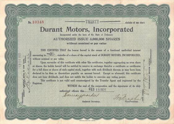 Certificaat voor 30/60 aandeel Durant Motors, Incorporated uit 1925.