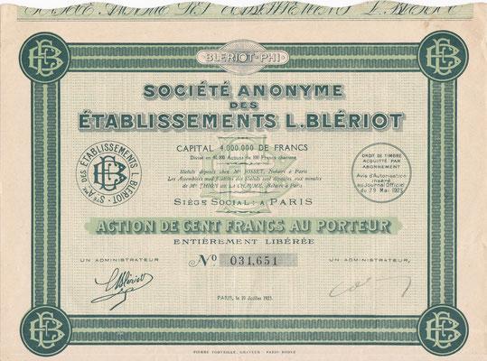 Aandeel S.A. des Établissements L.Blériot uit 1923.