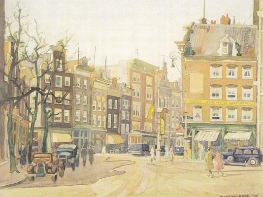 Amsterdam, ingang Spuistraat, 1935, kunstwerk van Sam van Beek.