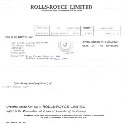 Certificaat voor een aandeel van 30 Pounds in Rolls-Royse Ltd. uit 1969.