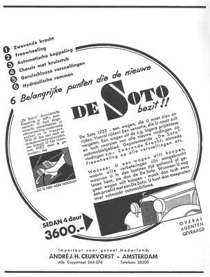 Nederlandse advertentie DeSoto uit 1932.