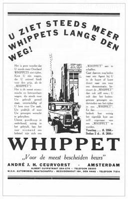 Nederlandse advertentie voor de Whippet.