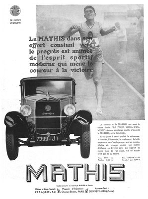 Advertentie Mathis in l'Illustration 1930.