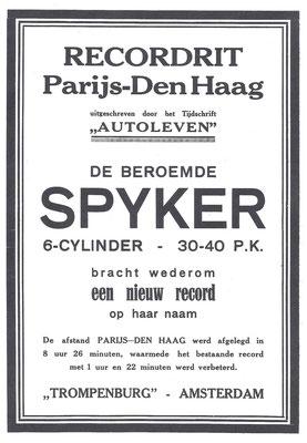 Een advertentie uit 1921 voor Spyker.
