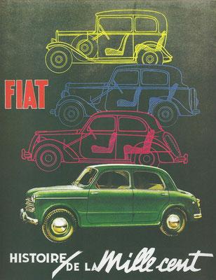 Een Franse Fiat advertentie uit 1956 met 4 generaties 1100.