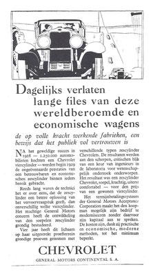 Nederlandse advertentie Chevrolet uit 1929.