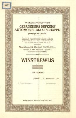 Een Winstbewijs N.V. Gebroeders Nefkens' Automobiel Maatschappij uit 1921 (blanket).