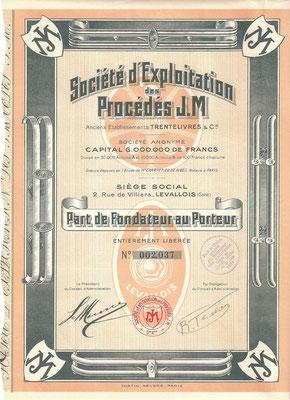 Een aandeel Société d'Exploitation des Procédés J.M uit 1931.