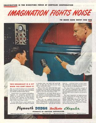 Een advertentie van Chrysler Corporation voor Plymouth, Dodge, DeSoto en Chrysler in The Saturday Evening Post uit 1946.