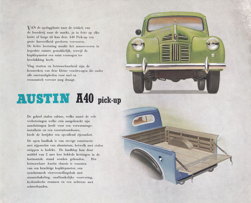 Brochure Austin A40 pick-up.