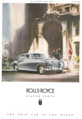 Advertentie uit 1955 voor de Rolls-Royce Silver Cloud, een kunstwerk van Frank Wootton.
