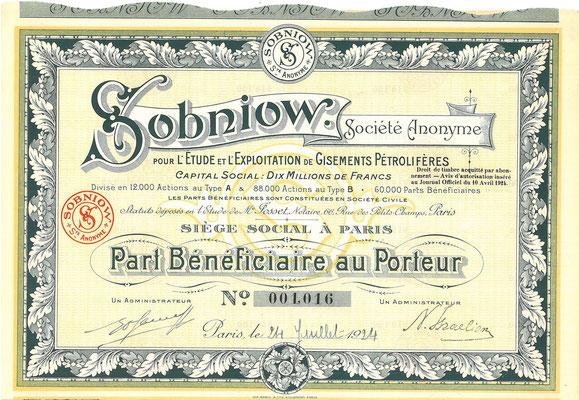 Een aandeel Sobniow S.A. uit 1924.