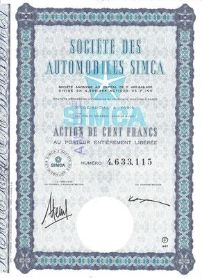 Een aandeel Société des Automobiles Simca S.A. uit 1967.
