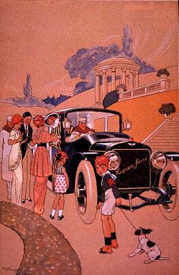 Reclame voor Hispano-Suiza gemaakt door René Vincent.