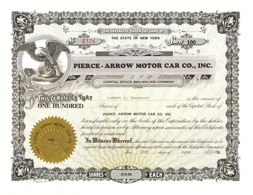 Certificaat voor 100 aandelen Pierce-Arrow Motor Car Co., Inc. uit 1928.