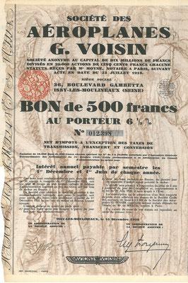 Obligatie Société des Aéroplanes G. Voisin S.A. uit 1928. Dit stuk (met een ander nummer) is te koop, prijs € 25,00 email: info@automobielhistorie.com