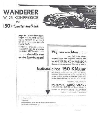Nederlandse advertentie voor Wanderer uit 1936.