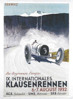 Een affiche voor de Zwitserse Klausen-bergrace in 1932.