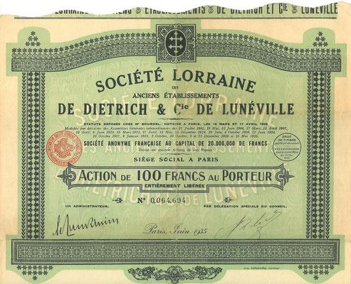 Aandeel Société Lorraine des anciens Établissements De Dietrich & Cie uit 1935.