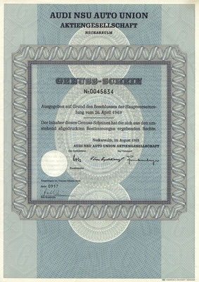 Genuss Schein Audi NSU Auto Union A.G. uit 1969.