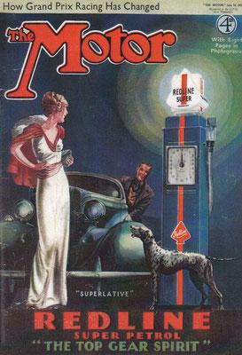 Reclame voor Redline  in Art Deco stijl op de voorzijde van het tijdschrift The Motor uit 1927.