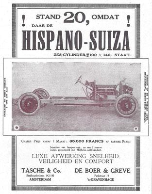 Nederlandse advertentie voor Hispano-Suiza.
