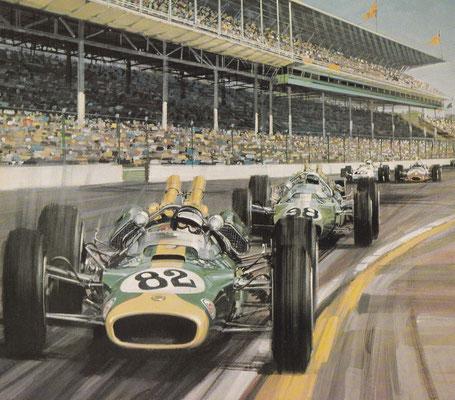 Jim Clark op weg naar de eerste plaats in de Indianapolis 500 race in 1965. De lotus werd aangedreven door  een Amerikaanse Ford 4,2 liter V8 motor met 4 nokkenassen die op alcohol liep.