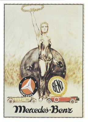 Een affiche over de fusie van Daimler (Mercedes) en Benz.