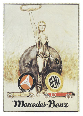 Affiche over de fusie van Daimler (Mercedes) en Benz uit 1926.